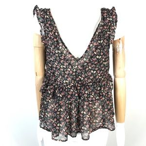 AE ruffled floral top v-neck